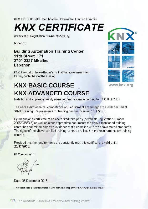 KNX ISO Certification